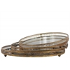 Metal Round Mirror/Tray with Parallel Lines Pierced Metal Sides Set of Three Tarnished Finish Gold