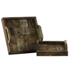 Wood Square Tray with Handles Set of Two Reclaimed Wood Finish Brown