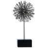 Metal Ball of Looped Ribbon Sculpture with Square Stand Electroplated Finish Silver