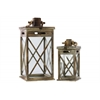 Wood Square Lantern with Rope Hanger Set of Two Weathered Finish Brown