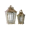 Wood Lantern with Rope Hanger and Glass Sides Set of Two Weathered Finish Tan