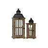 Wood Rectangular Lantern with Black Pierced Metal Top and Ring Hanger Set of Two Weathered Wood Finish Dark Brown