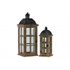 Wood Rectangular Lantern with Black Pierced Metal Top and Ring Hanger Set of Two Weathered Wood Finish Dark Brown