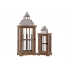 Wood Rectangular Lantern with Silver Pierced Metal Top and Ring Hanger Set of Two Natural Wood Finish Brown
