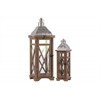 Wood Square Lantern with Silver Pierced Metal Top and Ring Hanger Set of Two Natural Wood Finish Brown