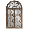 Wood Wall Mirror with Arched Top and Quatrefoil Design Weathered Finish Tan