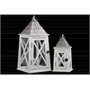 Wood Square Lantern with Pierced Metal Top and Ring Hanger Set of Two Matte Finish White