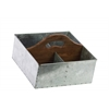 Zinc Square Storage with Wood Cutout Handle and 4 Slots Galvanized Finish Silver