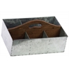 Zinc Rectangular Storage with Wood Cutout Handle and 6 Slots Galvanized Finish Silver
