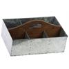 Zinc Rectangular Storage with Wood Cutout Handle and 6 Slots Galvanized Finish Silver