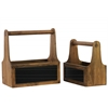 Wooden Organizer with Handle Set of Two Stained Wood Finish Brown