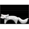 Ceramic Standing Fox Figurine with Embossed Design LG Distressed Gloss Finish White