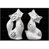 Ceramic Sitting Fox Figurine with Embossed Design and Floral Perforations Assortment of Two Distressed Gloss Finish White
