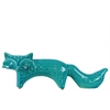 Ceramic Standing Fox Figurine with Embossed Design LG Distressed Gloss Finish Turquoise