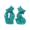 Ceramic Sitting Fox Figurine with Embossed Design and Floral Perforations Assortment of Two Distressed Gloss Finish Turquoise