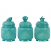 Ceramic Round 50 oz. Canister with Coal Design Top Lid Assortment of Three Pimpled Gloss Finish Turquoise