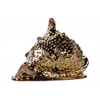 Ceramic Spiny Conch Seashell Figurine Polished Chrome Finish Gold