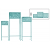 Metal Square Plant Stand with Pierced Metal Design and 3 Legs Set of Three Coated Finish Blue