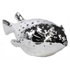 Porcelain Half-blown Pufferfish Figurine Polished Chrome Finish Silver
