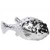 Porcelain Pufferfish Figurine Polished Chrome Finish Silver