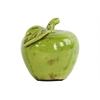 Ceramic Apple with Leaf Figurine SM Gloss Finish Olive Green