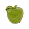 Ceramic Apple with Leaf Figurine LG Gloss Finish Olive Green