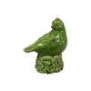 Ceramic Bird Figurine on a Tree Stump Gloss Finish Olive Green
