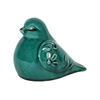 Ceramic Bird Figurine with Embossed Floral Design Gloss Finish Turquoise