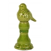Ceramic Bird Figurine with Embossed Floral Design on a Pedestal Distressed Gloss Finish Olive Green
