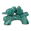 Ceramic Bird Figurines on a Tree Branch Base Gloss Finish Turquoise