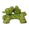 Ceramic Bird Figurines on a Tree Branch Base Gloss Finish Olive Green