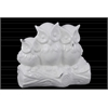 Ceramic Owl Figurines on a Tree Branch Base Gloss Finish White