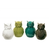 Ceramic Owl Figurine Assortment of Four LG Gloss Finish Assorted Color (White, Olive Green, Teal and Gray)