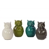 Ceramic Owl Figurine Assortment of Four SM Gloss Finish Assorted Color (White, Olive Green, Teal and Gray)