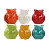 Ceramic Owl Figurine Assortment of Six Gloss Finish Assorted Color (White, Red, Turquoise, Red Orange, Amber and Olive)