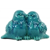 Ceramic Kissing Bird Couple Figurine Gloss Finish Turquoise
