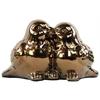 Ceramic Kissing Bird Couple Figurine Polished Chrome Finish Gold