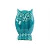 Ceramic Owl Figurine on Base LG Gloss Finish Turquoise