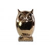 Ceramic Owl Figurine on Base LG Polished Chrome Finish Gold