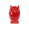 Ceramic Owl Figurine on Base LG  Gloss Finish Red