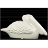Ceramic Crouching Pelican Figurine Gloss Finish White