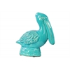 Ceramic Sitting Pelican Figurine on Round Base Gloss Finish Turquoise