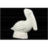 Ceramic Sitting Pelican Figurine on Round Base Gloss Finish White