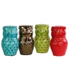 Ceramic Owl  Figurine Assortment of Four Gloss Finish Assorted Color (Red, Green, Gold and Turquoise)