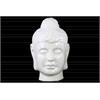 Ceramic Buddha Head with Bun Ushnisha LG Gloss Finish White