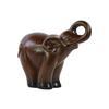 Ceramic Trumpeting Standing Elephant Figurine Glaze Finish Espresso Brown
