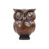 Ceramic Owl Figurine Glaze Finish Espresso Brown