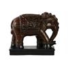 Ceramic Standing Ceremonial Elephant with Blanket Figurine on Base Glaze Finish Espresso Brown