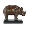 Ceramic Standing Rhinoceros Figurine on Base Glaze Finish Espresso Brown