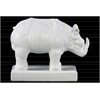Ceramic Standing Rhinoceros Figurine on Base Matte Finish White